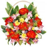 корзина из искусственных цветов ЗАКАЗ КРЗ-06