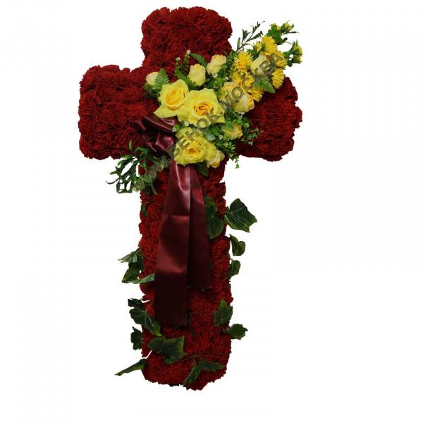 венок из искусственных цветов КРЕСТ ВИКр-04