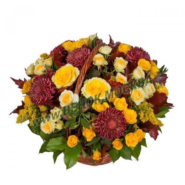 корзина из живых цветов КРЖ-32