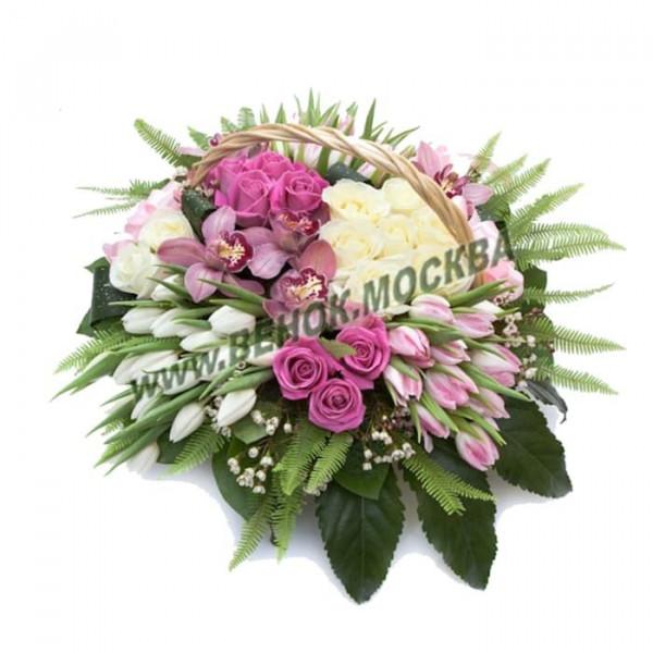корзина из живых цветов КРЖ-34