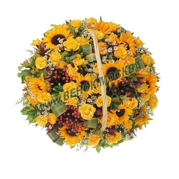 корзина из живых цветов КРЖ-35