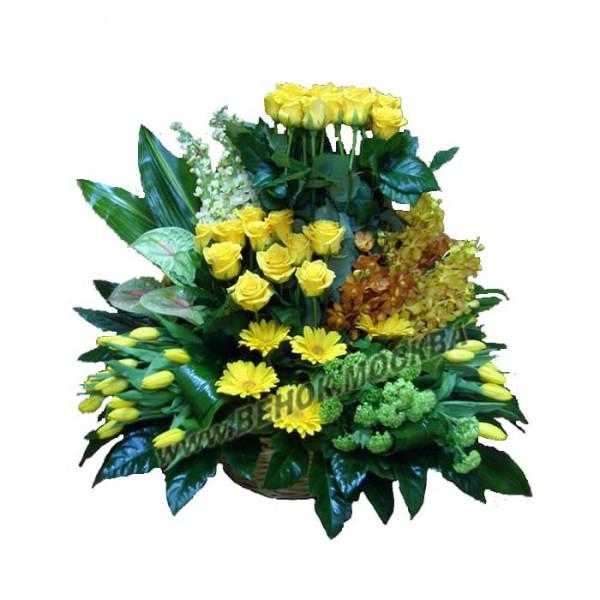 корзина из живых цветов КРЖ-44