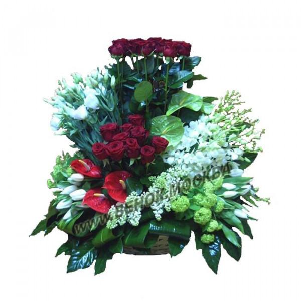 корзина из живых цветов КРЖ-45