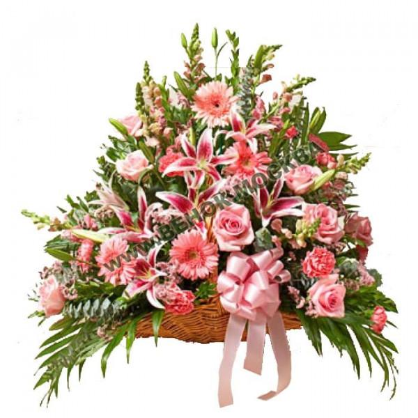 корзина из живых цветов КРЖ-09